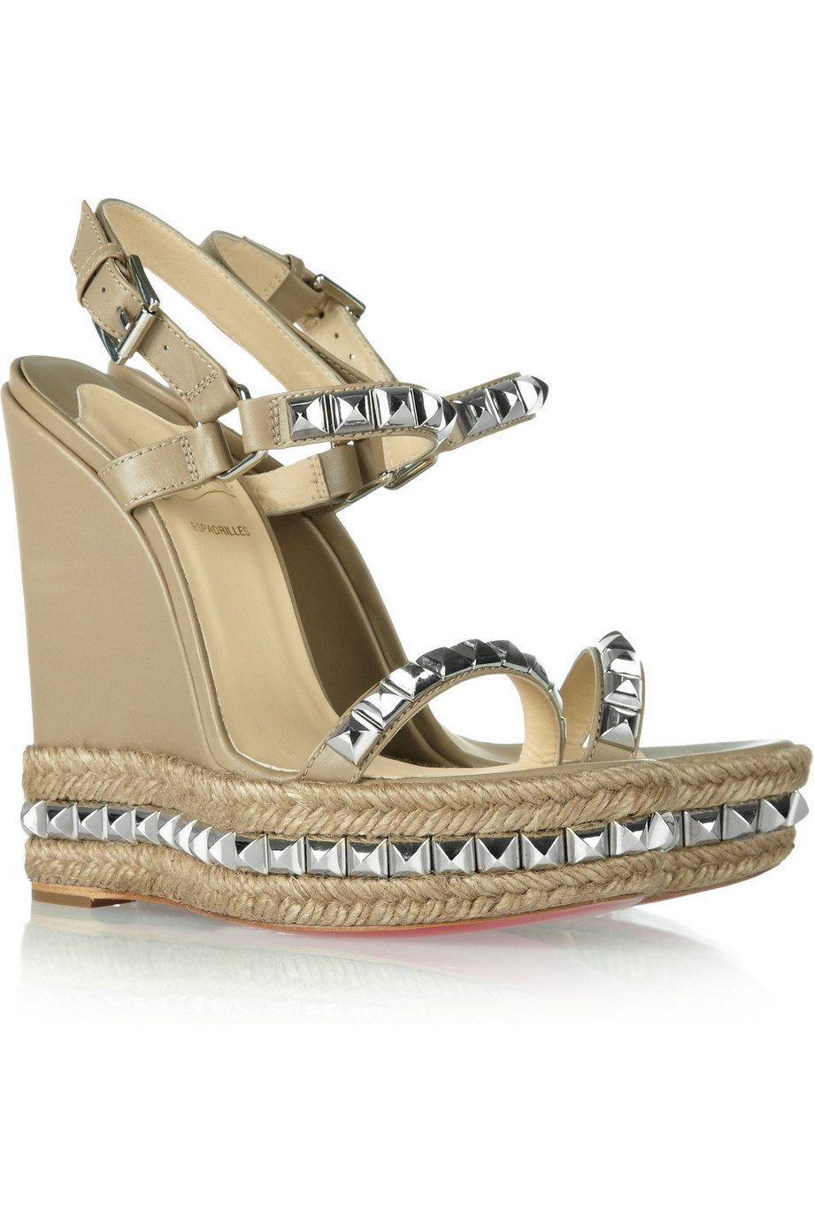 Christian Louboutin Cataclou 140 Studded Leather Wedge ...