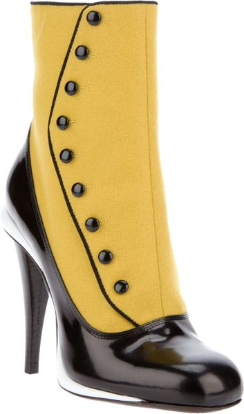 Fendi Ankle Length Boot in Yellow