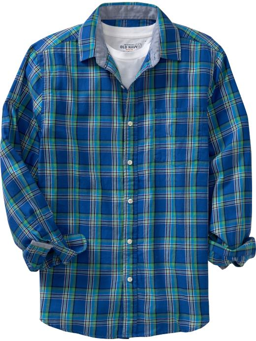 Old navy plaid shirt in green for men green blue plaid for Blue and green tartan shirt