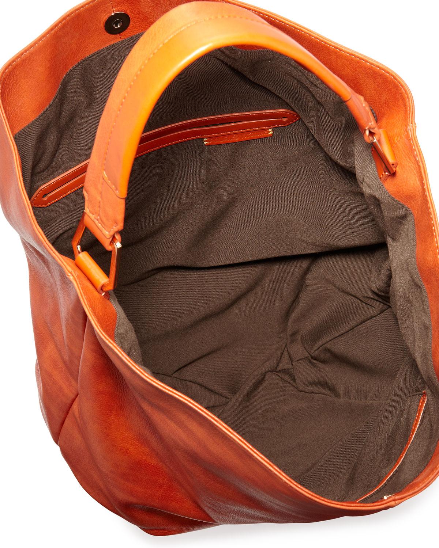Pour La Victoire Brown Studded Leather Megan Large Hobo ...