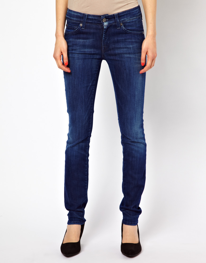 7 for all mankind cristen mid rise skinny jeans in blue lyst. Black Bedroom Furniture Sets. Home Design Ideas