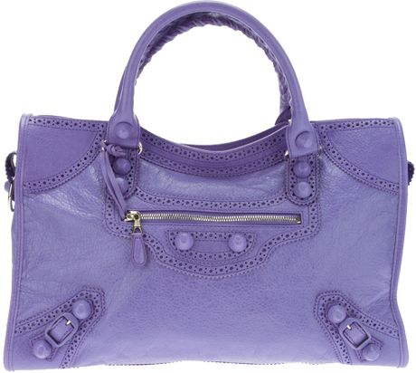 Balenciaga Brogue City Tote in Purple (mauve)