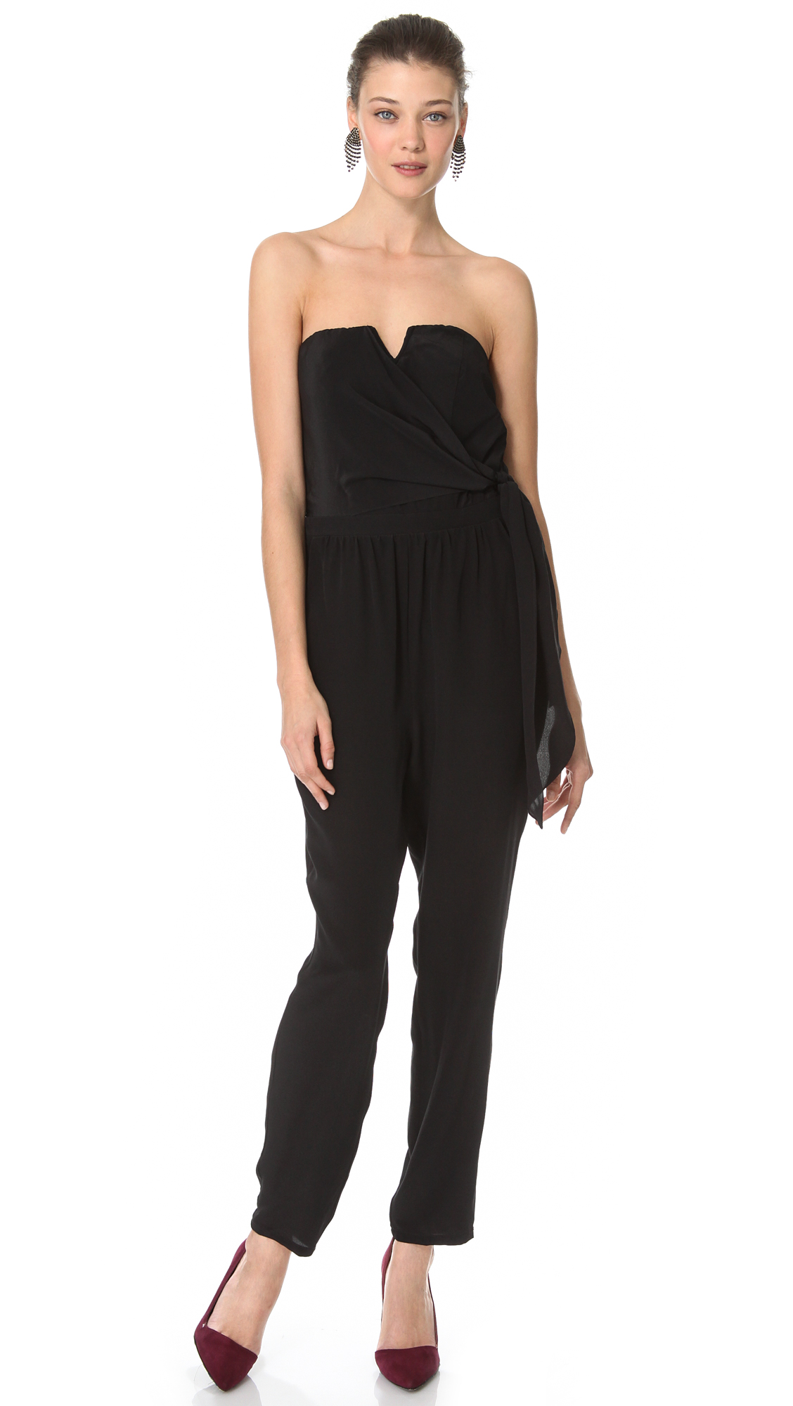 Charlie Jade Strapless Jumpsuit in Black   Lyst