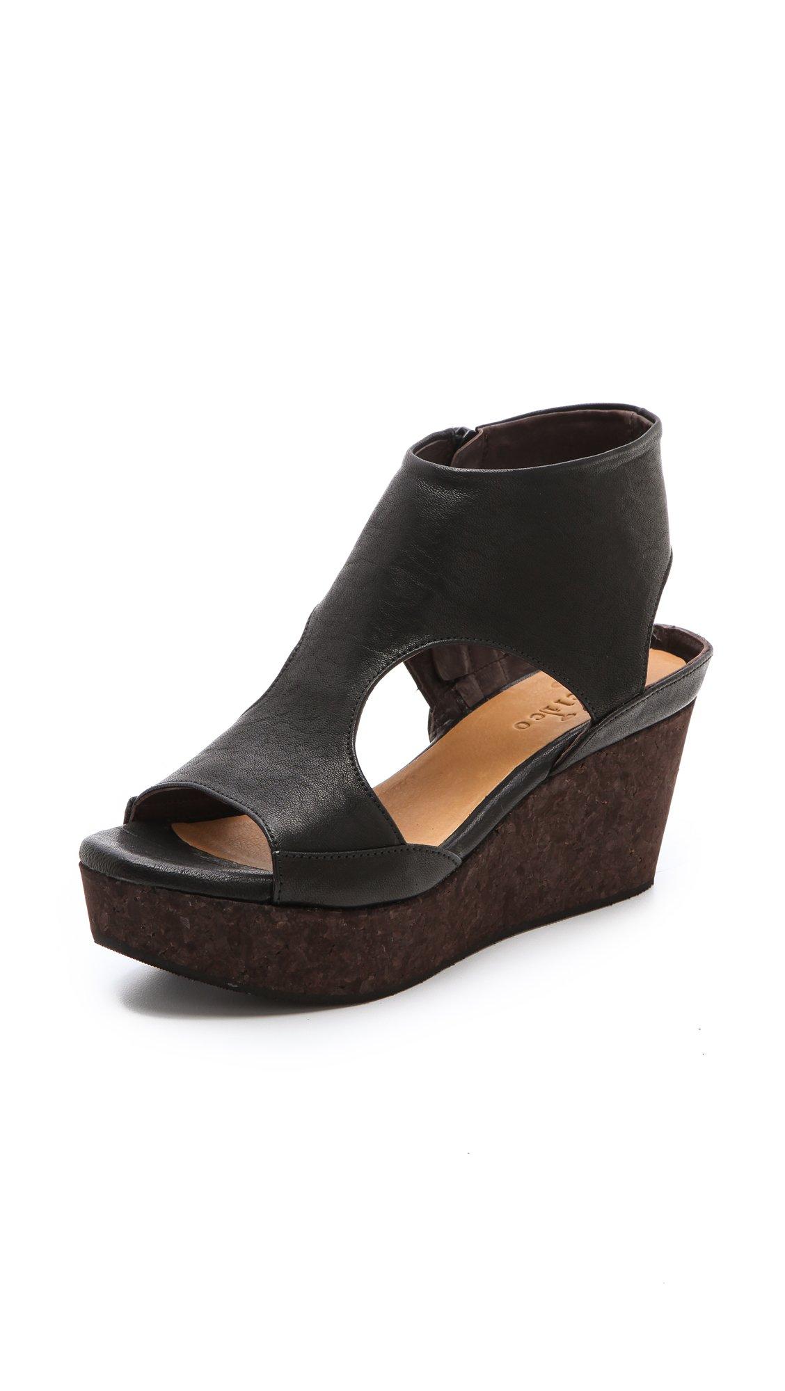 coclico mosaic cork wedge sandals in beige black lyst