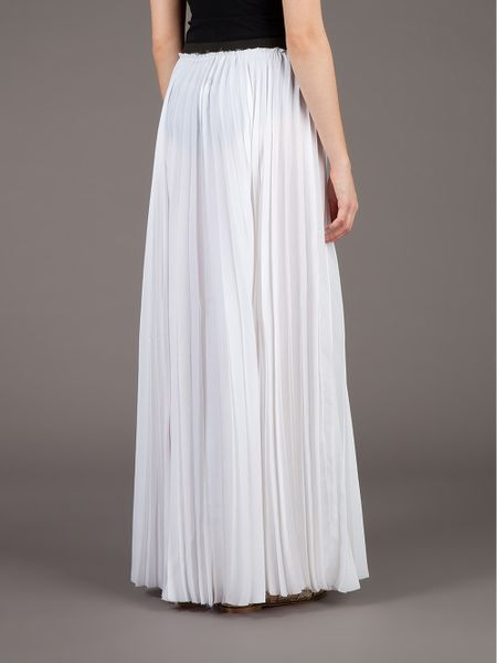 enza costa pleated maxi skirt in white lyst
