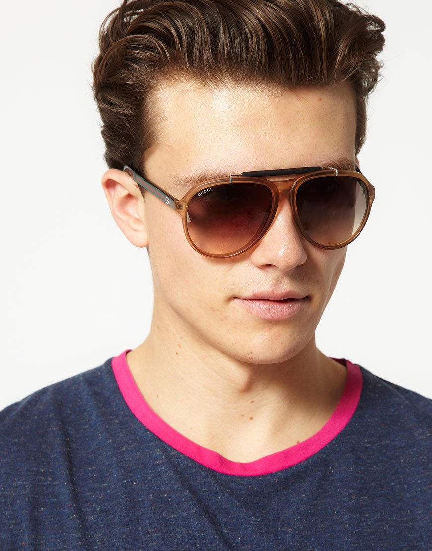 Lyst Gucci Young Aviator Sunglasses In Brown For Men