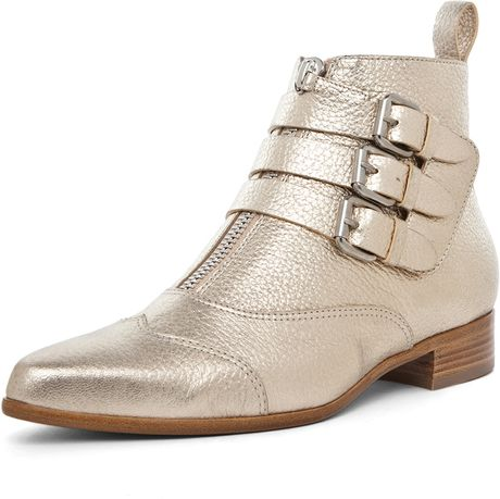 Tabitha Simmons Early Leather Booties in Gold in Gold