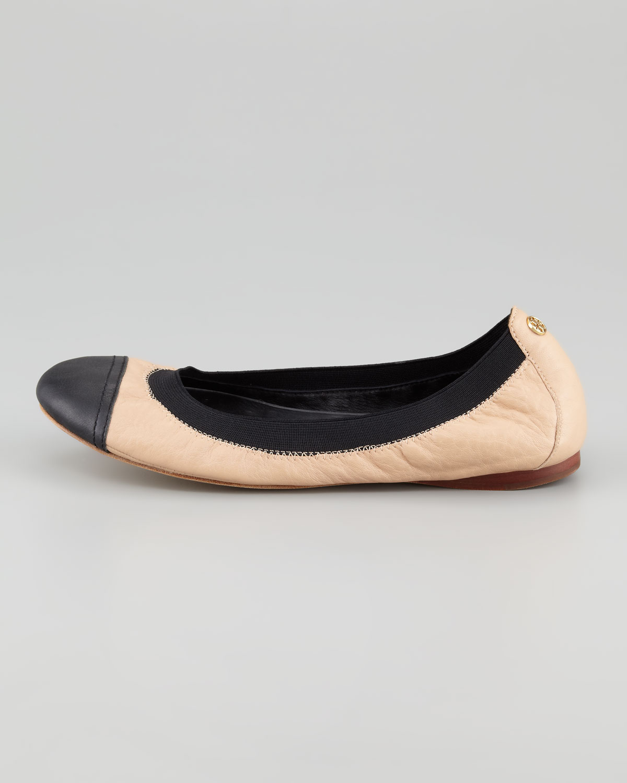 tory burch cap toe ballerina flat in beige cam pink black lyst. Black Bedroom Furniture Sets. Home Design Ideas