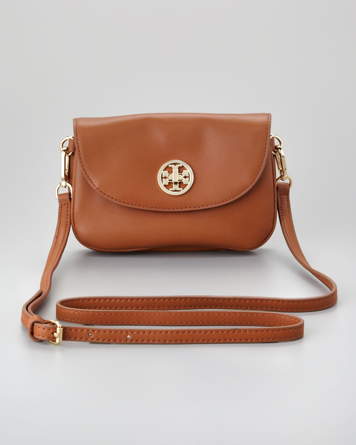 Tory Burch Robinson Double Gusset Crossbody Bag In Brown