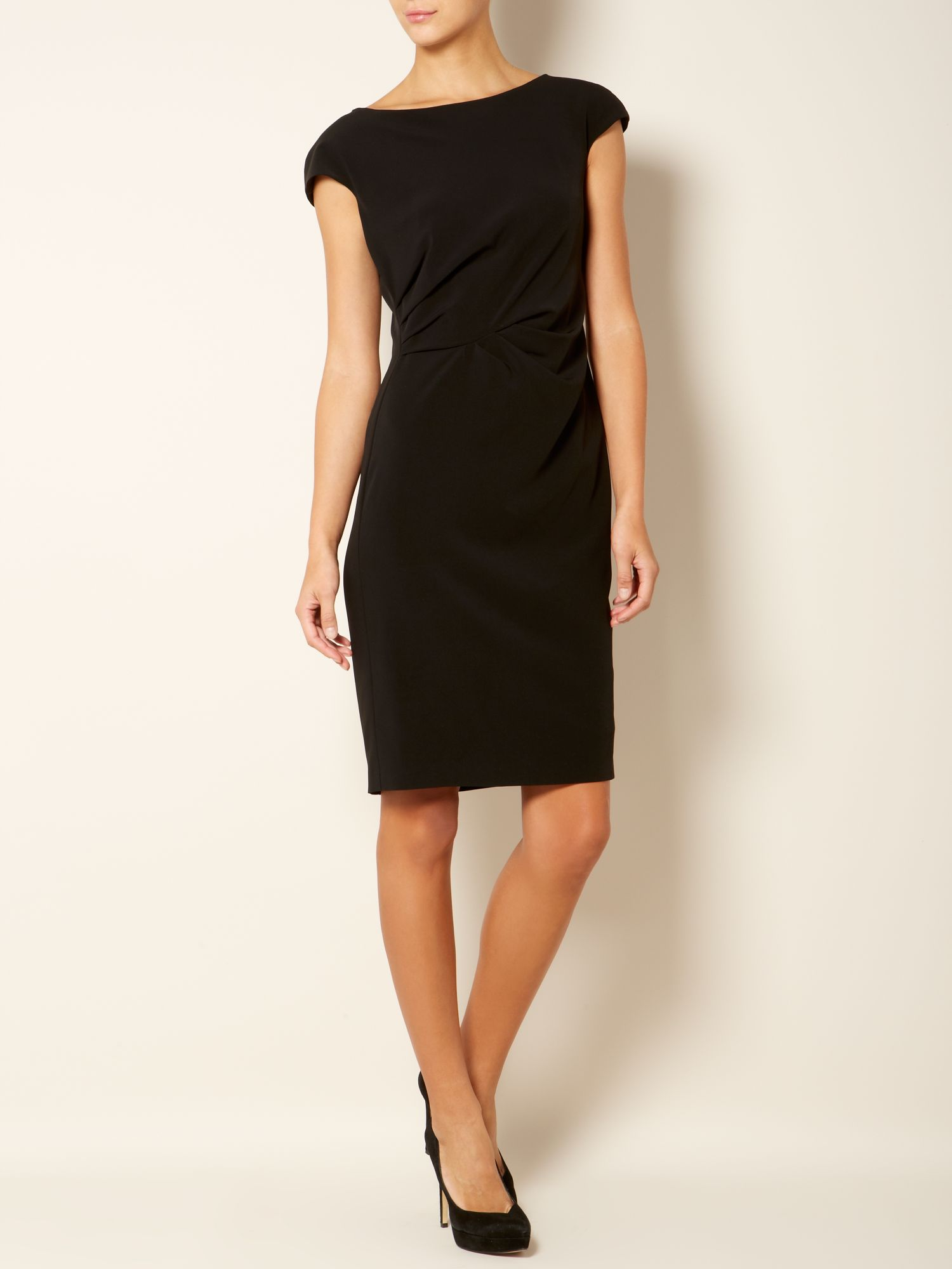 Weekend by maxmara Morgana Short Sleeve Rouched Dress in Black - Lyst