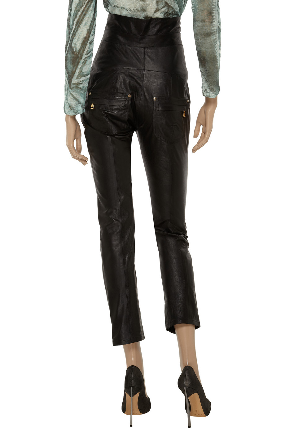 Lyst Balmain High Waisted Leather Skinny Pants In Black