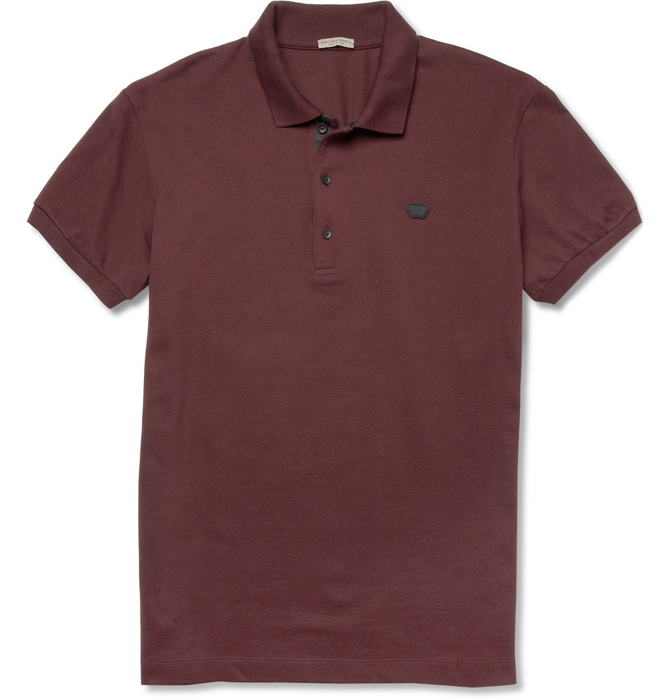 Bottega veneta cottonpiqu polo shirt in purple for men for Bottega veneta t shirt