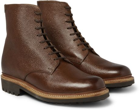 Grenson Hadley Pebble Grain Leather Boots in Brown for Men