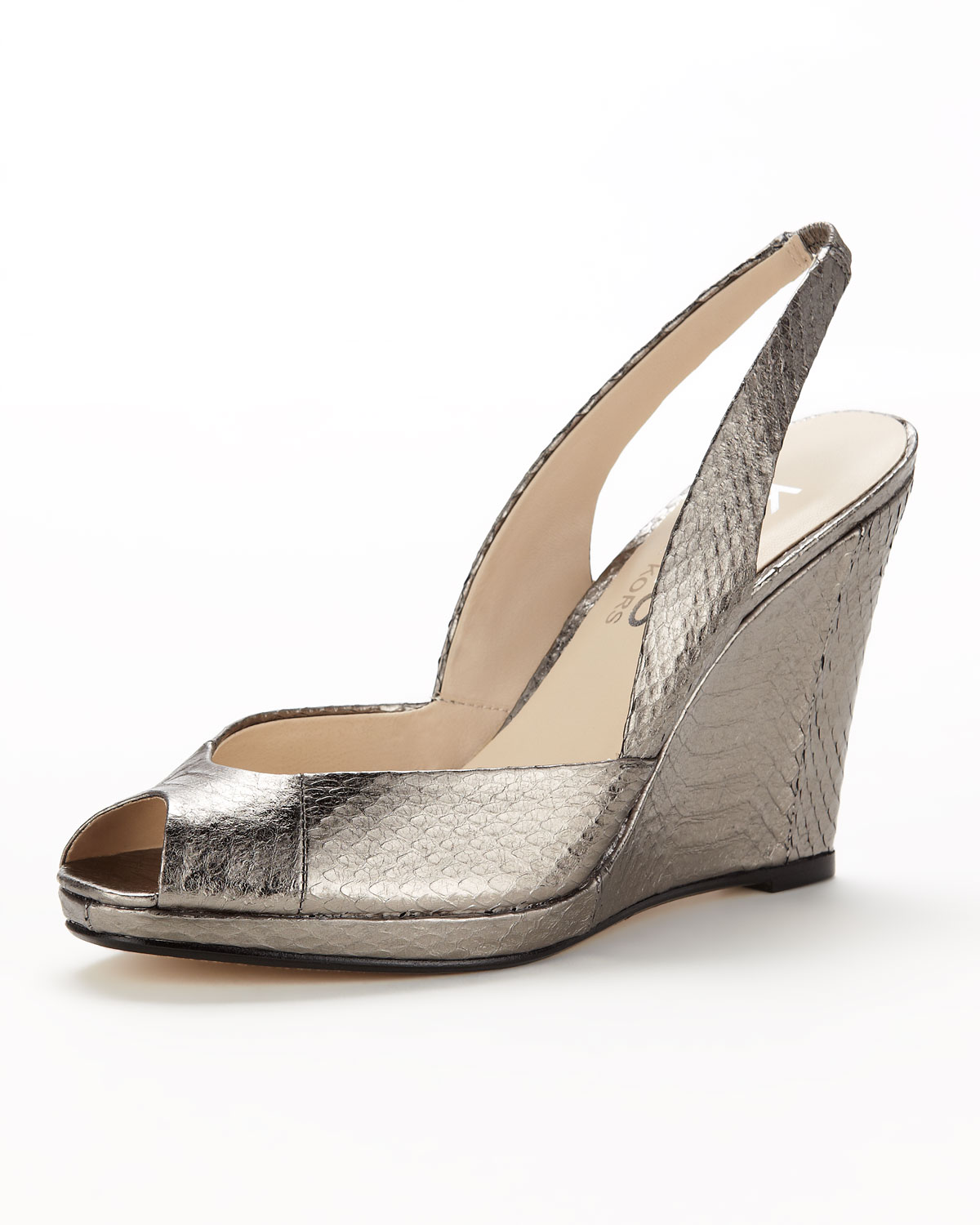 Kors By Michael Kors Vivian Metallic Snakeskin Wedge Sandal Lyst