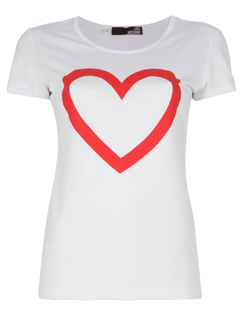 love moschino heart tshirt in white lyst. Black Bedroom Furniture Sets. Home Design Ideas