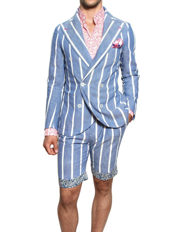 Lyst Manuel Vanni Striped Cotton Chambray Bermuda Suit