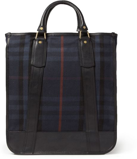 Burberry Leathertrimmed Plaid Tote Bag in Blue for Men