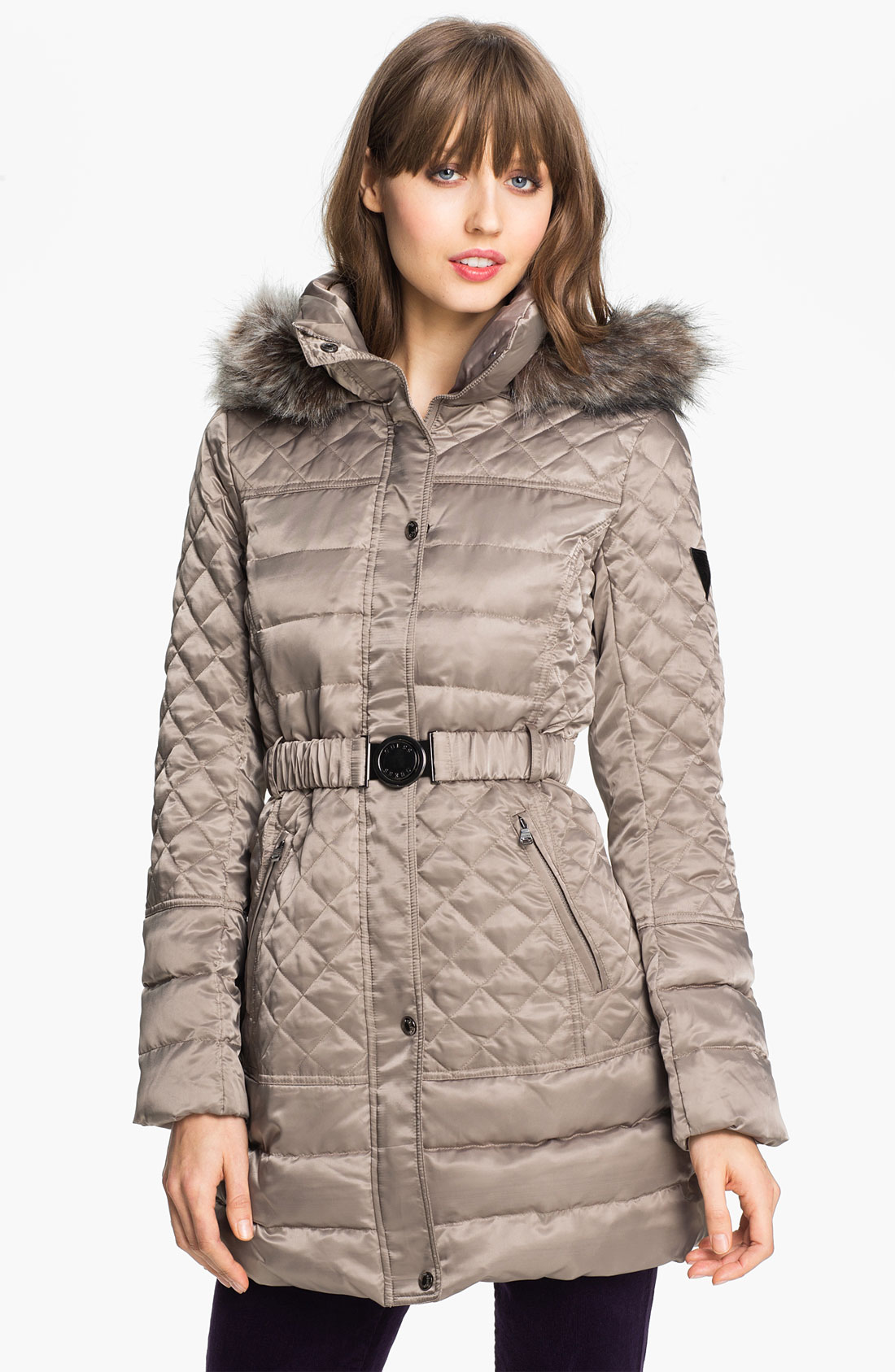 Guess Faux Fur Trim Quilted Satin Jacket Online Exclusive ...