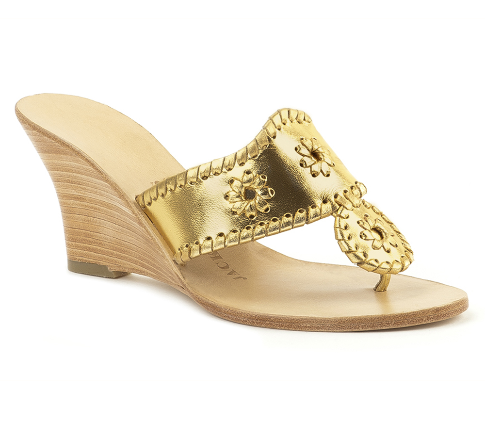 Gold Leather Wedge Shoes