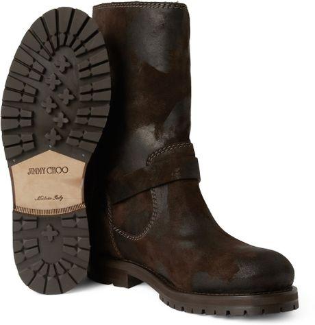 jimmy choo york shearlinglined suede biker boots in brown
