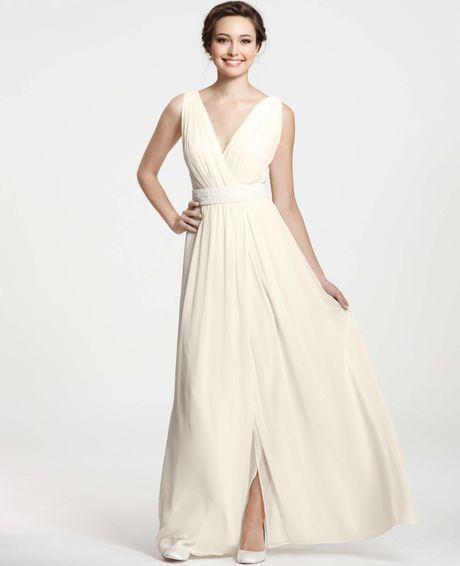 Goddess Wedding Gown: Ann Taylor V-neck Goddess Gown In White (bridal Ivory)