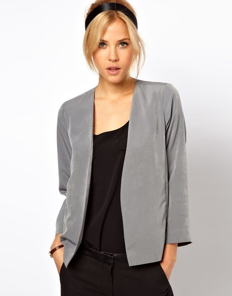 Asos Cropped Soft Jacket in Gray (grey)