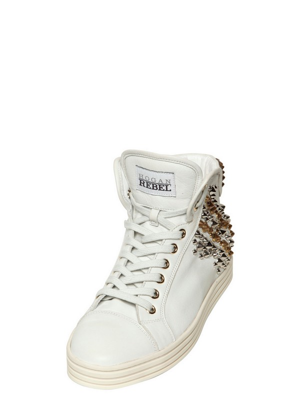 Hogan Rebel 50mm Studded Leather High Top Sneakers in White - Lyst