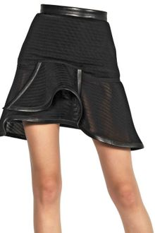 Mugler Leather Trim Trame Shogun Knit Skirt - Lyst