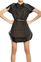 Mugler Quilted Patent Scuba Silk Muslin Dress