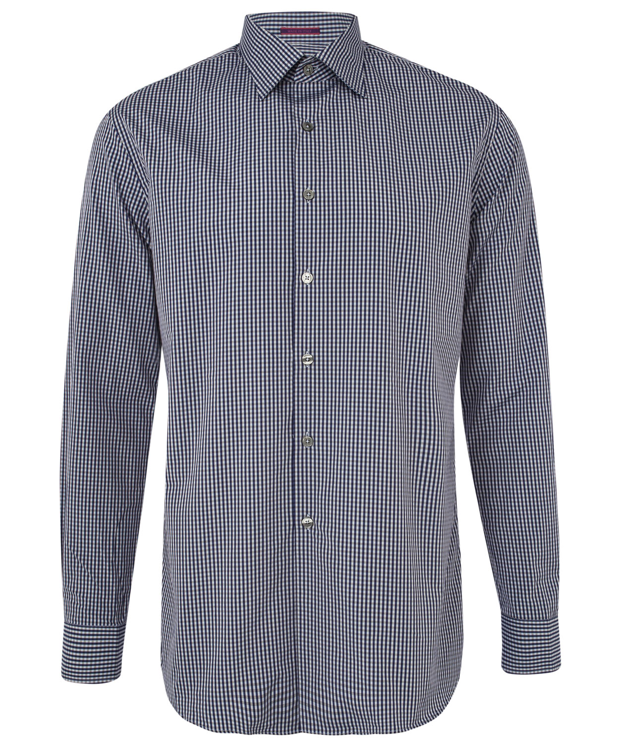 Lyst paul smith navy micro gingham long sleeve shirt in for Navy blue gingham shirt