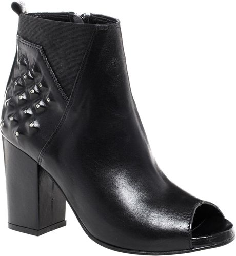 3bcff5407f4a River Island Studded Peep Toe Boots in Black
