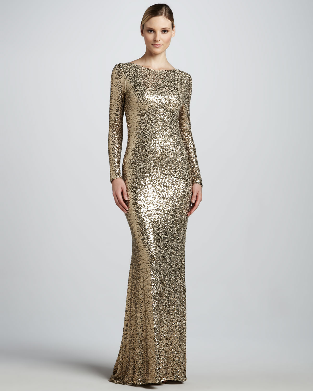 680a83354b Lyst - Badgley Mischka Sequined Gown with Cowl Back in Metallic