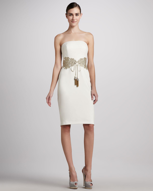 Badgley mischka Embellished Tiewaist Cocktail Dress in White  Lyst