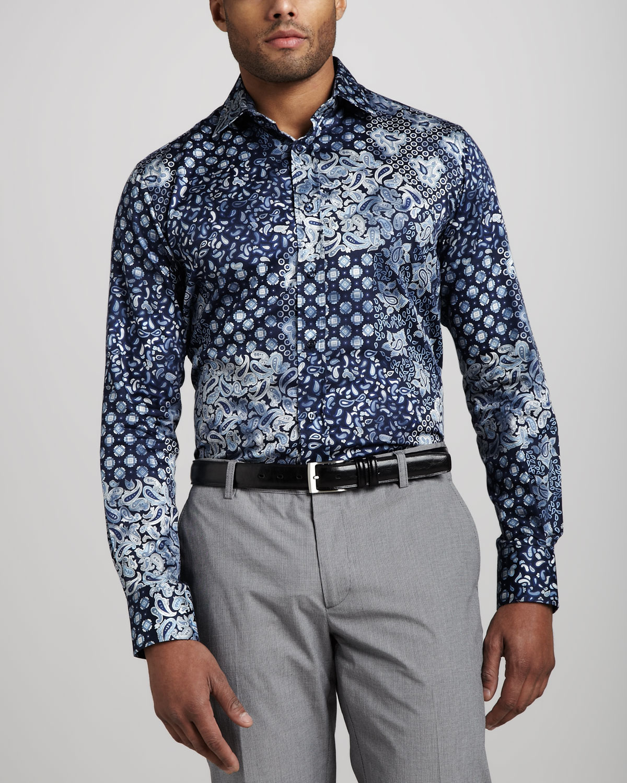 Etro paisley sport shirt blue in blue for men lyst for Etro men s shirts