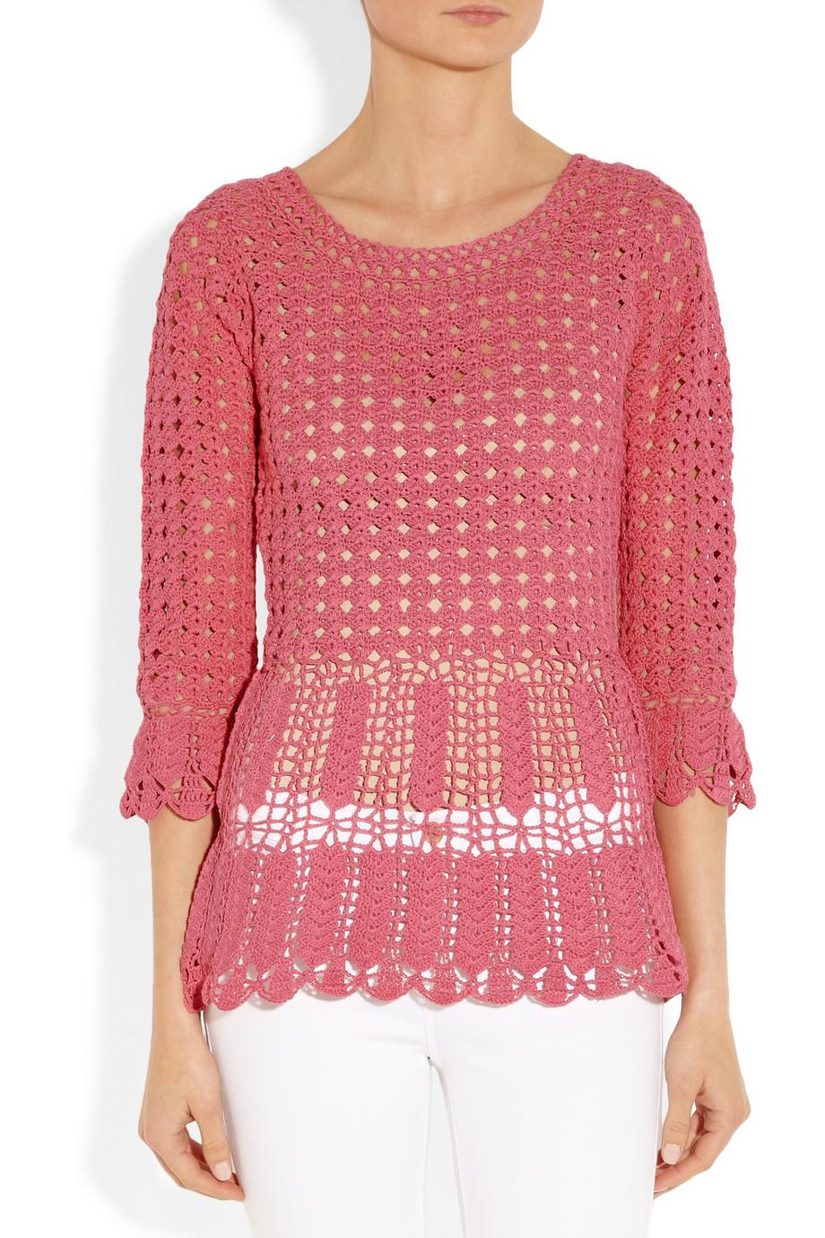 Lyst Alberta Ferretti Crocheted Cotton Peplum Top In Pink