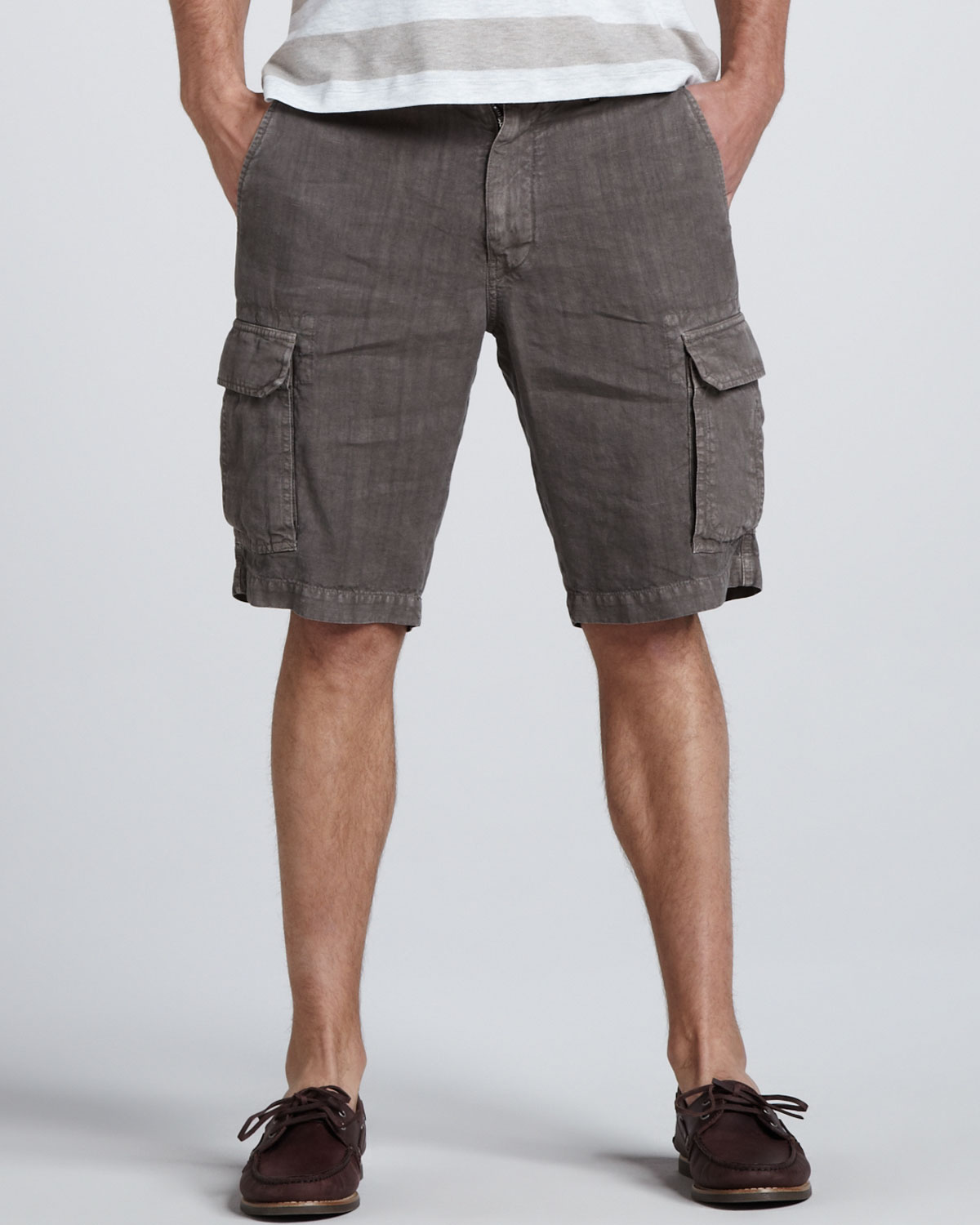 Brunello cucinelli Slim Linen Cargo Shorts in Gray for Men | Lyst