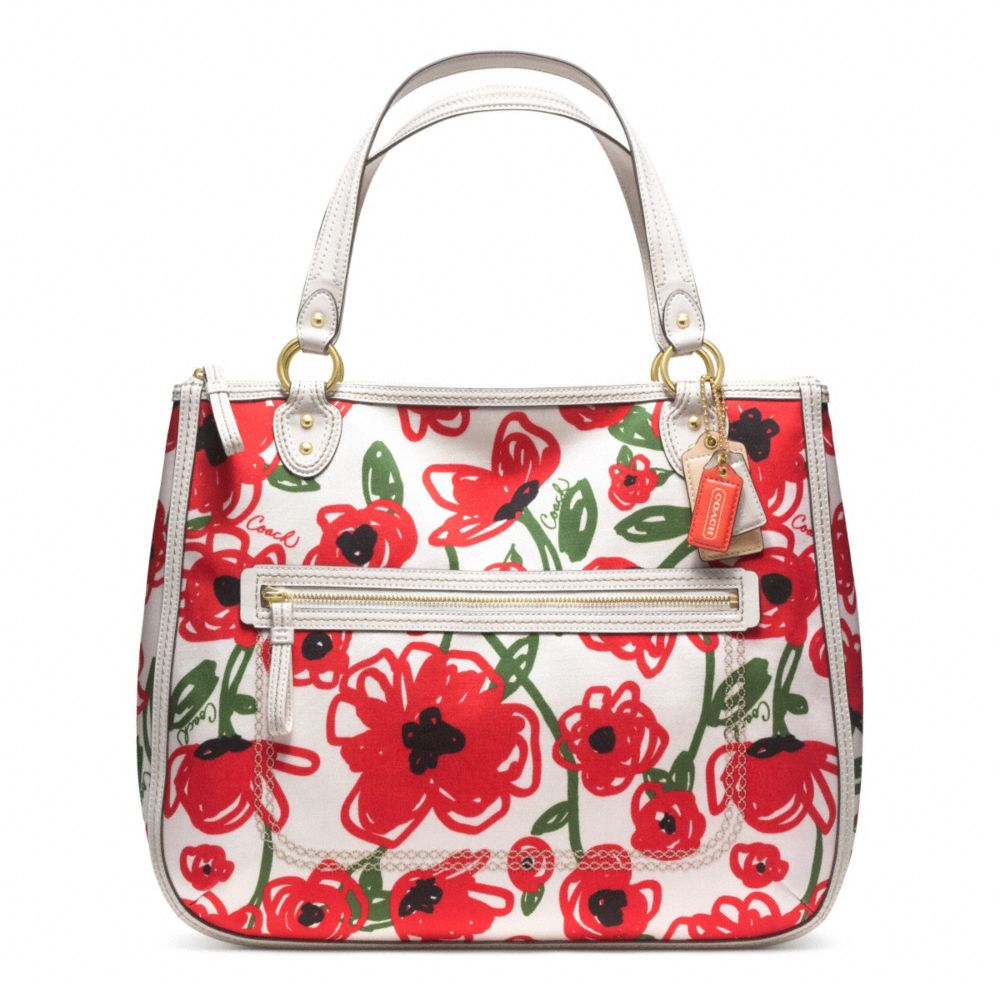 Lyst coach poppy floral print hallie tote in red gallery mightylinksfo