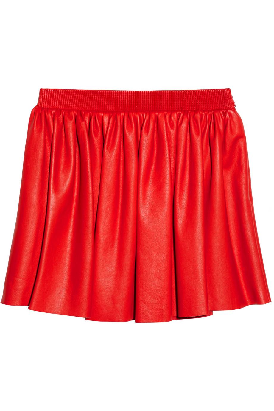 miu miu pleated leather mini skirt in lyst