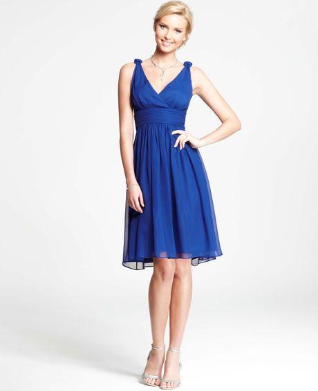 Ann Taylor Silk Georgette Knot Shoulder Dress in Blue (brilliant sapphire)