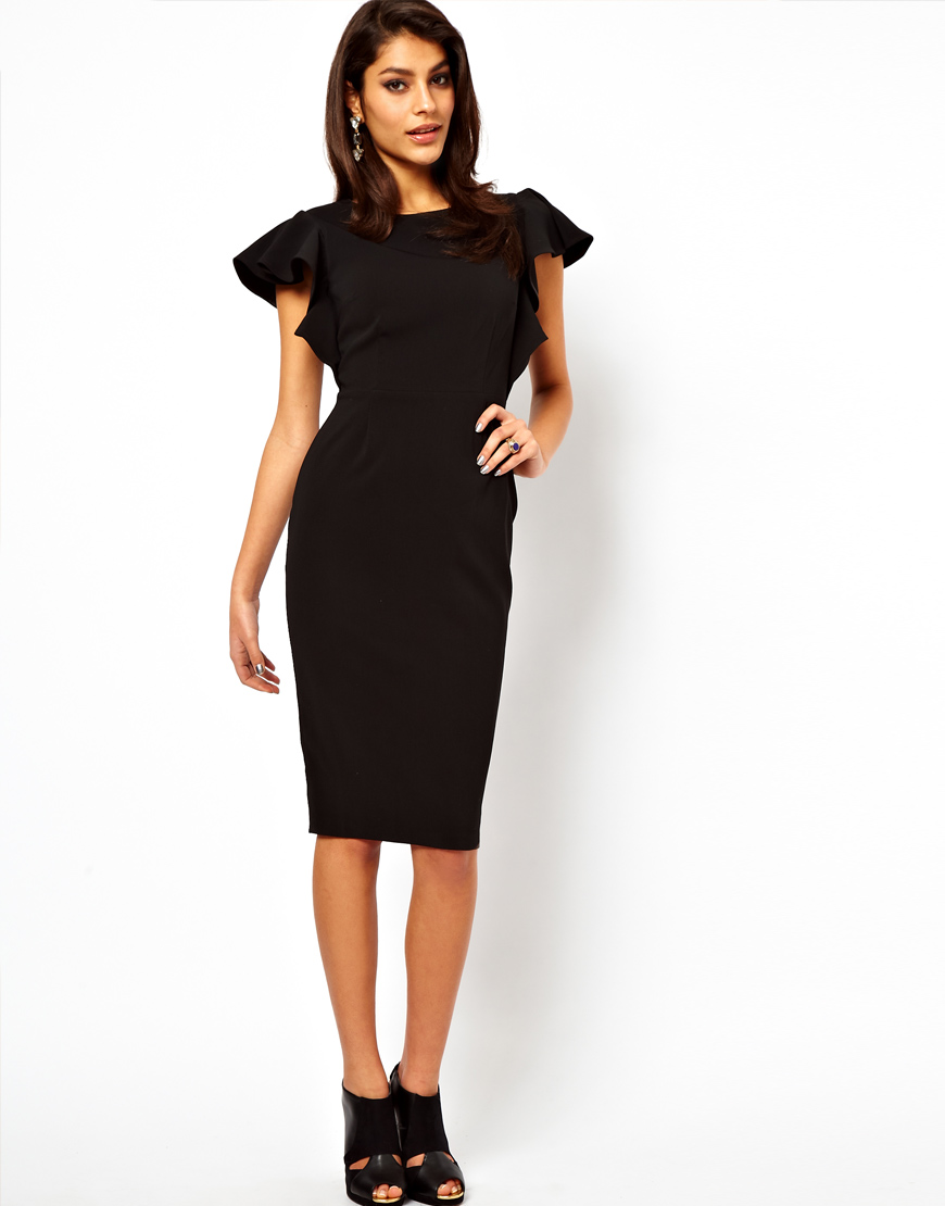 Asos Pencil Dress with Ruffle Sleeves in Black | Lyst