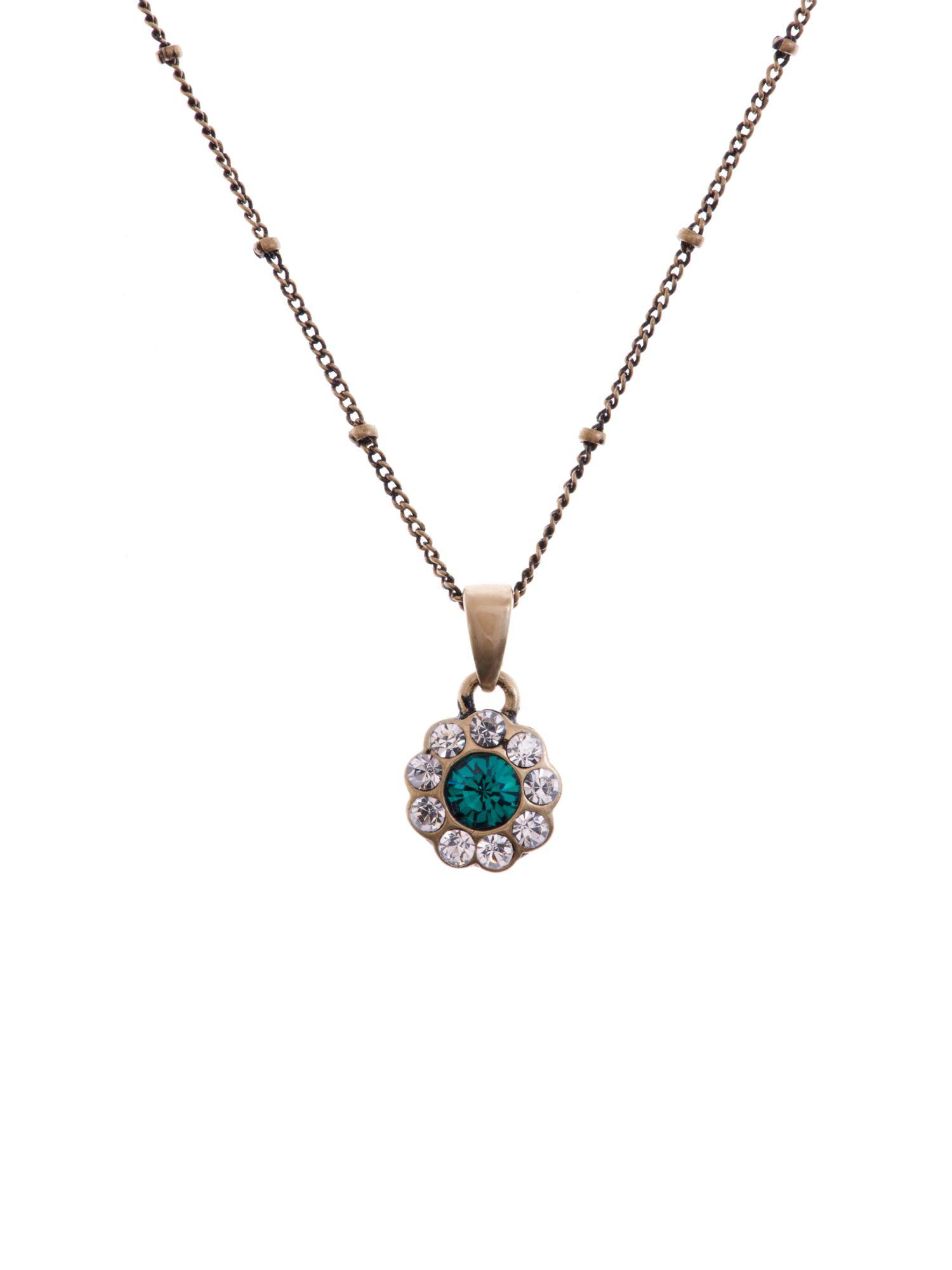 Cath Kidston Daisy Crystal Pendant in Emerald (Green)