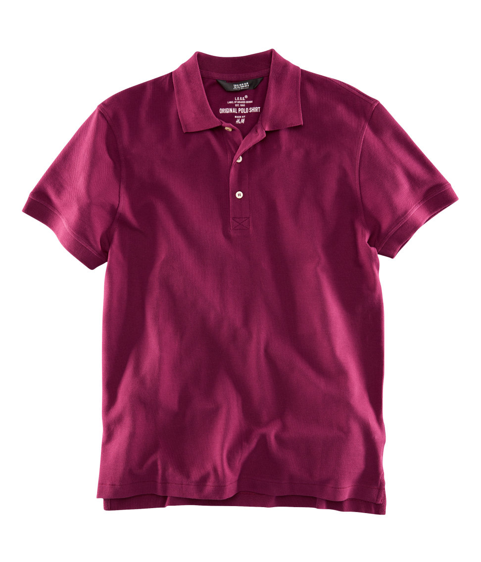 H m polo shirt in purple for men burgundy lyst for H m polo shirt mens