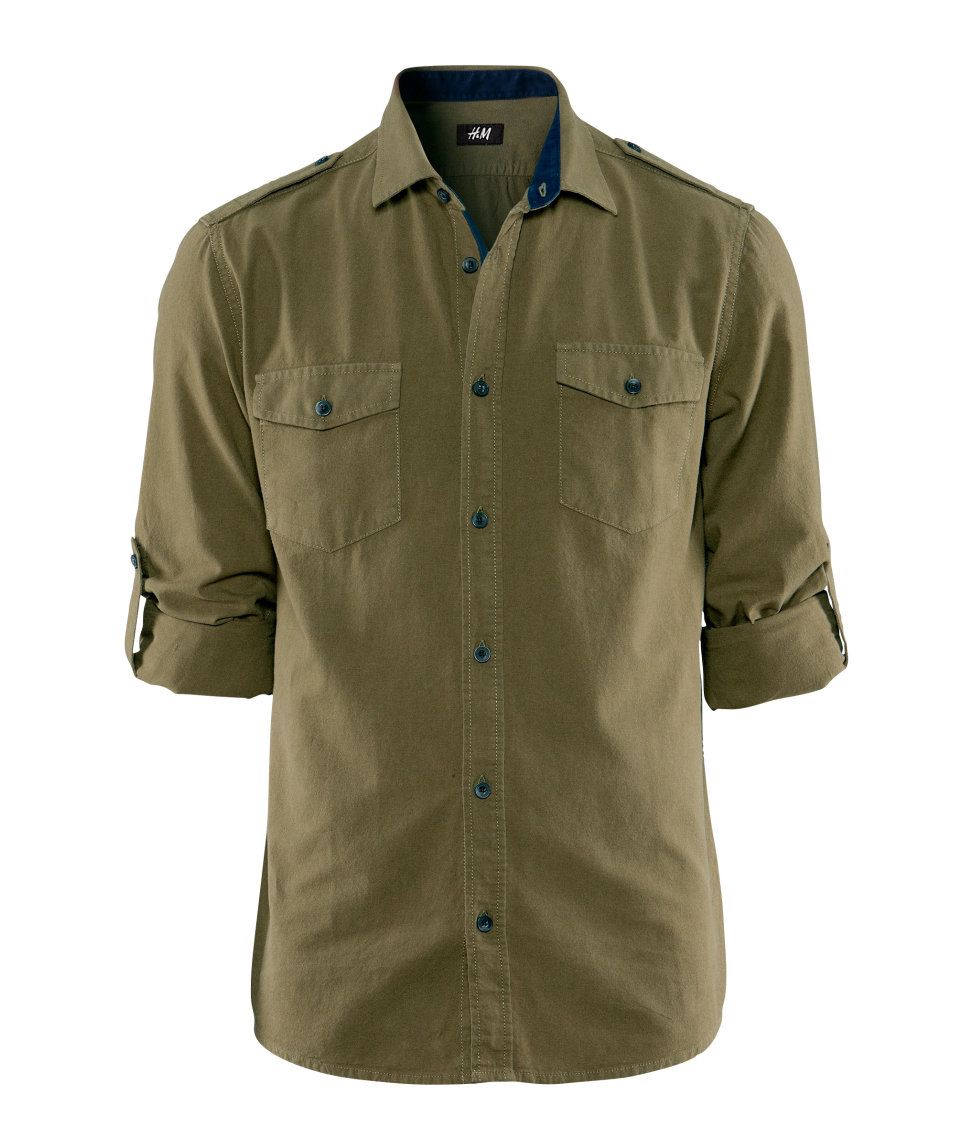H M Shirt In Green For Men Lyst