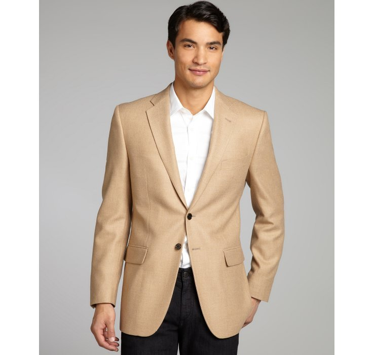 Joseph abboud Tan Herringbone Wool Woven Sportcoat in Natural for ...