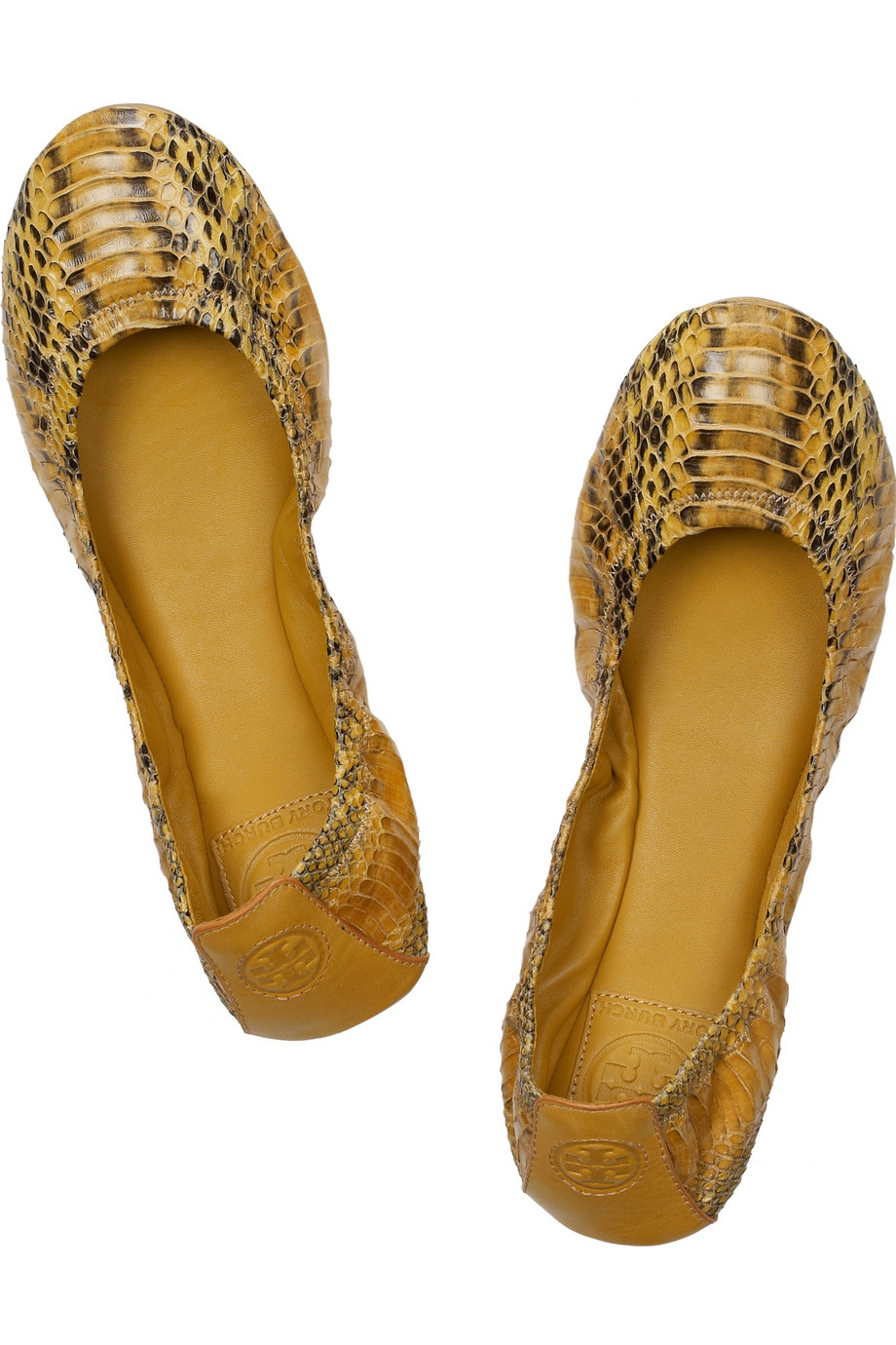 5ce444eb3 Lyst - Tory Burch Eddie Pythoneffect Leather Ballet Flats in Yellow