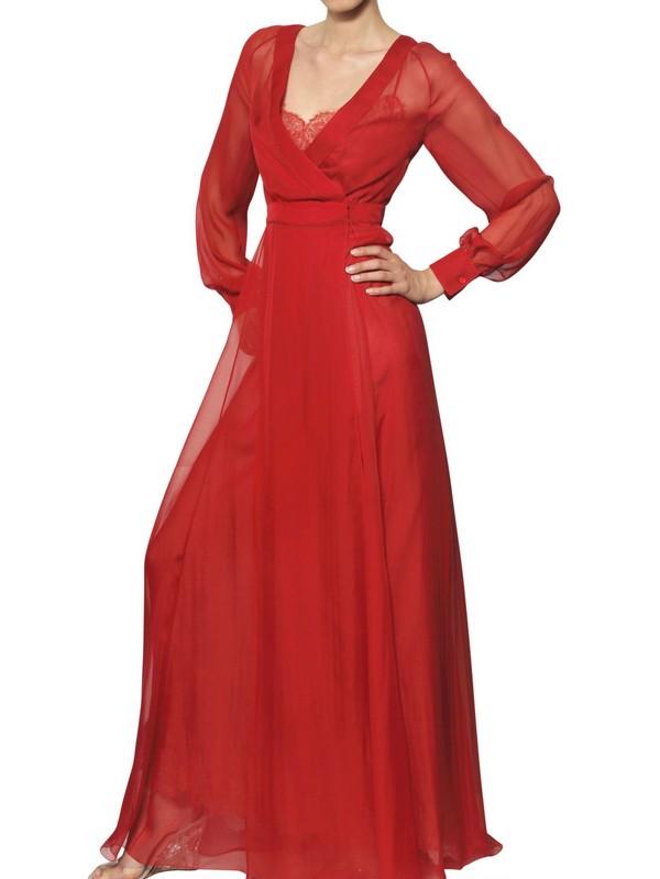 Valentino Silk Chiffon Long Dress in Red  Lyst