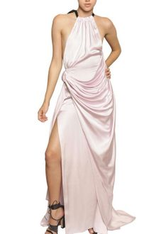 Vionnet Two Tone Viscose Satin Long Dress - Lyst