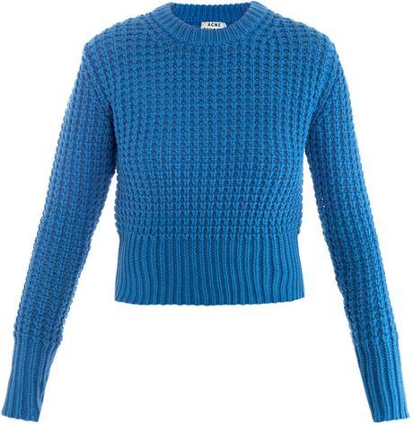 Acne Studios Lia Waffleknit Sweater in Blue (cobalt)