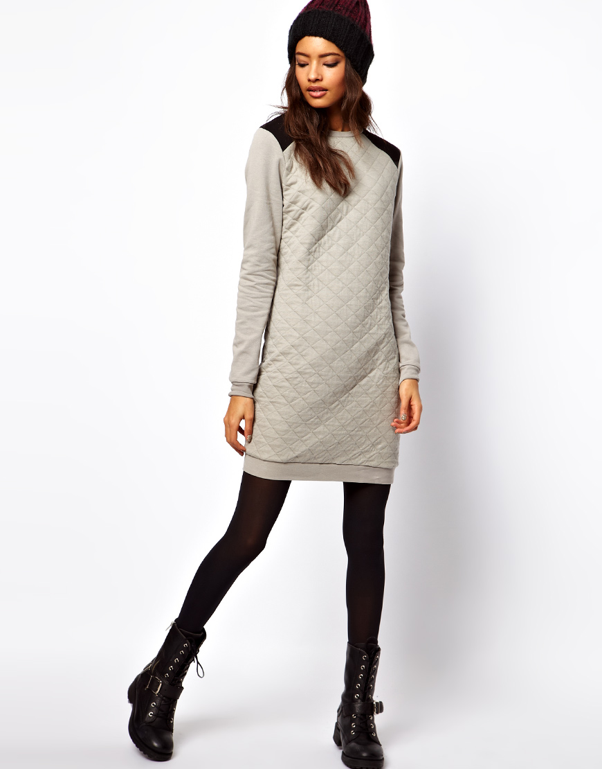 Asos Sweat In Collection Lyst Jersey Dress Quilted Gray jLR34Aq5