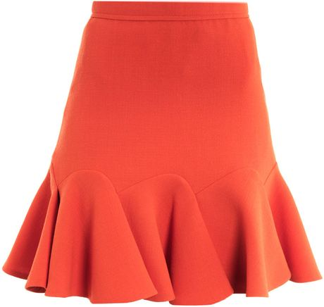 Carven Double Crepe Skirt in Pink (coral)